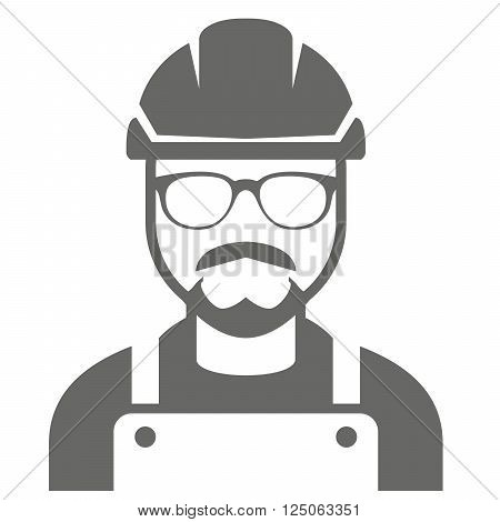 Builder in hard hat and glasses - foreman icon