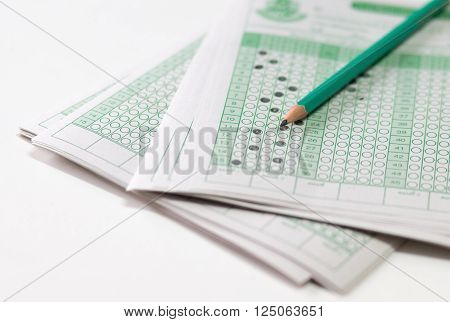 answer sheet and test score  with answers in thai education