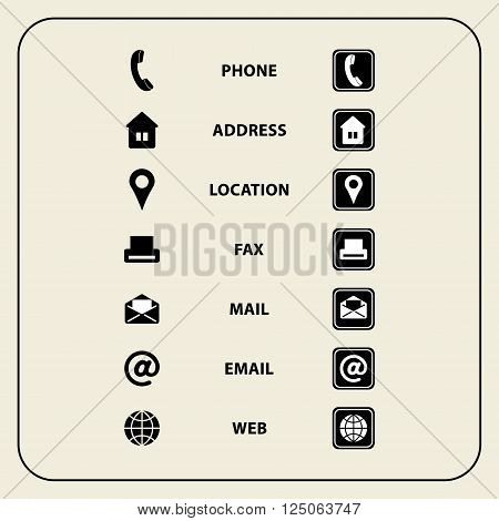 Vector illustration of Set of web icons for Business cards finance and communication. Multipurpose symbols for design