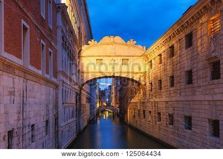Bridge of Sighs or Ponte dei Sospiri at night, Venice, Italy
