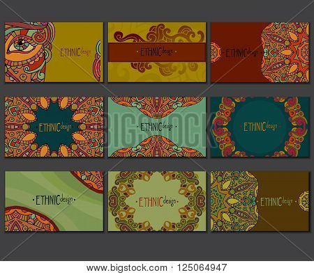 Ethnic colored business card set. Abstract decorative elements. Hand drawn vector illustration.