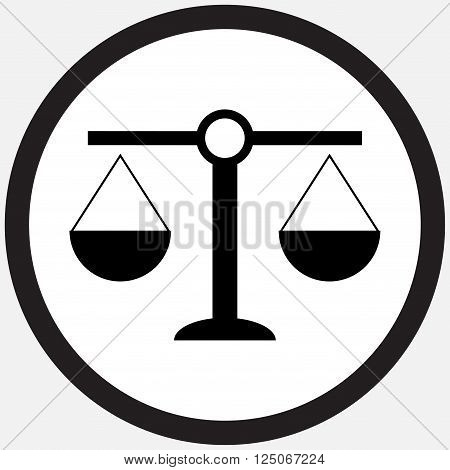 Scale icon black white. Weight scale and balance scales of justice and balance scale equality and freedom measurement equal. Vector flat design illustration