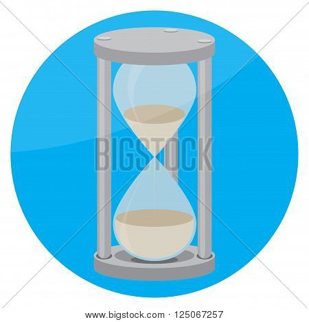 Hourglass icon flat. Time and clock hourglass icon and hourglass isolated round hourglass sand and hourglass timer countdown hourglass and watch hourglass. Vector flat design illustration