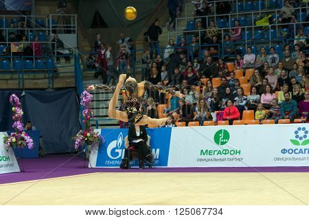 MOSCOW RUSSIA - FEBRUARY 19 2016: Fillorianu Anna Luiza Romania in Rhythmic gymnastics Alina Cup Grand Prix Moscow - 2016 in Moscow sport palace Luzhniki Russia