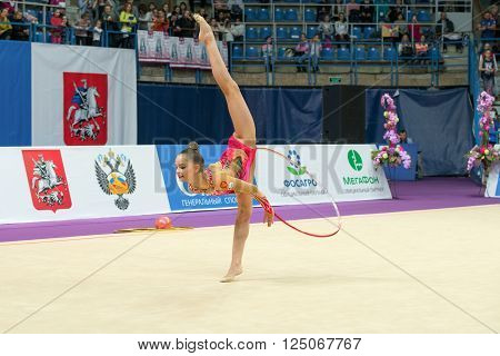 MOSCOW, RUSSIA - FEBRUARY 19, 2016: Averin Arina, Russia on Rhythmic gymnastics Alina Cup Grand Prix Moscow - 2016 in Moscow sport palace Luzhniki, Russia