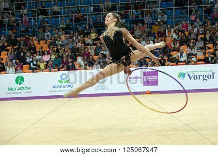MOSCOW RUSSIA - FEBRUARY 19 2016: Gamalejeva Jelizaveta Latvia on Rhythmic gymnastics Alina Cup Grand Prix Moscow - 2016 in Moscow sport palace Luzhniki Russia
