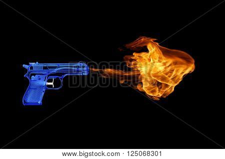 Blue toy gun with a fire flame