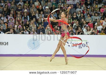 MOSCOW RUSSIA - FEBRUARY 21 2016: Averina Arina Russia on Rhythmic gymnastics Alina Cup Grand Prix Moscow - 2016 in Moscow sport palace Luzhniki Russia