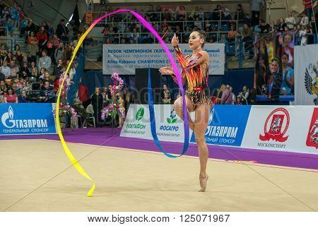 MOSCOW RUSSIA - FEBRUARY 21 2016: Halkina Katsiaryna Belarus on Rhythmic gymnastics Alina Cup Grand Prix Moscow - 2016 in Moscow sport palace Luzhniki Russia
