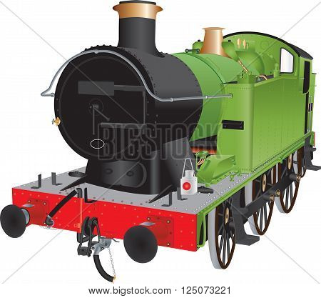 A Green and Black Steam Shunting Locomotive isolated on white