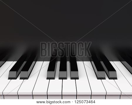 Close-up view black and white piano keyboard .3D illustration
