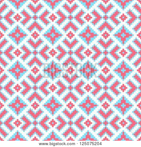 Traditional ethnical pink and blue seamless vector pattern.
