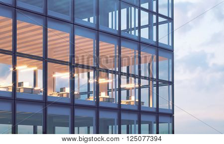 Photo of skyscraper tower. High floor office, interior in evening time. Panoramic windows facade background, contemporary business center. Empty meeting room.Real horizontal mockup, flares. 3D rendering