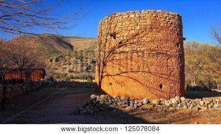 The Torreon is an historic rock fort where settlers hid during indian raids in Lincoln New Mexico in the late 1800's