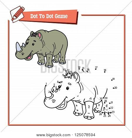 dot to dot rhino educational game. Vector illustration educational game of dot to dot puzzle with happy cartoon rhino for children