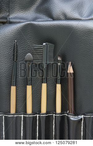 Top View Of Professional Makeup Brush Set