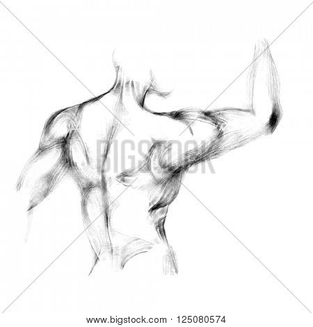 Silhouette of beautiful nude  woman vector illustration. Sketch artwork of woman's body.