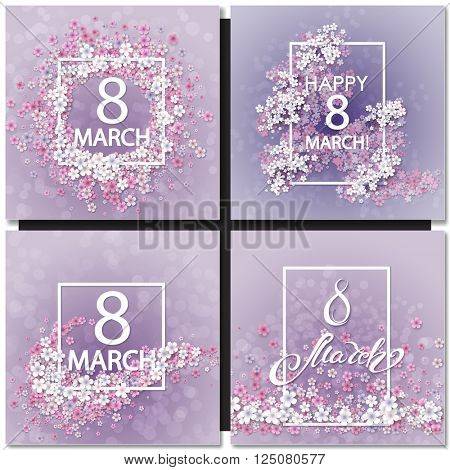 Set of Abstract Purple Floral Greeting card - International Happy Women's Day - 8 March holiday background with Frame Flowers. Trendy Design Template. Vector illustration.