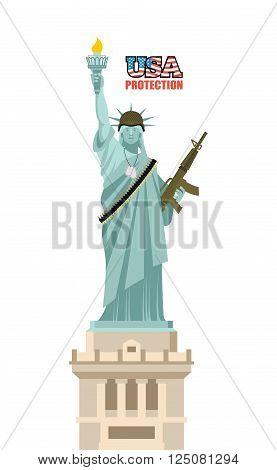 Usa Protection. Statue Of Liberty With Gun. Symbol Of Democracy And Machine Gun Belts. Landmark Amer