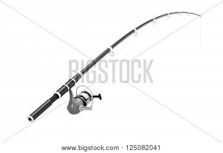 Fishing rod spinning on a white background. 3d illustration.