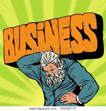 Antique Atlas strong man businessman pop art retro style. Greek image in the business. Mighty old man. stone text the word business. Boss the head of the company