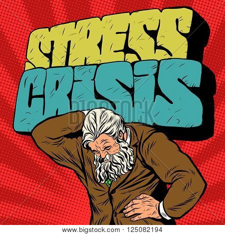 Antique Atlas stress crisis strong man businessman pop art retro style. Greek image in the business. Mighty old man. Boss the head of the company