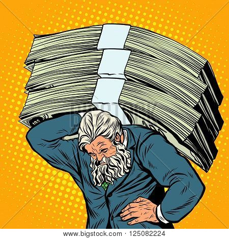 Antique Atlas heavy weight money strong man businessman pop art retro style. Greek image in the business. Mighty old man. Boss the head of the company