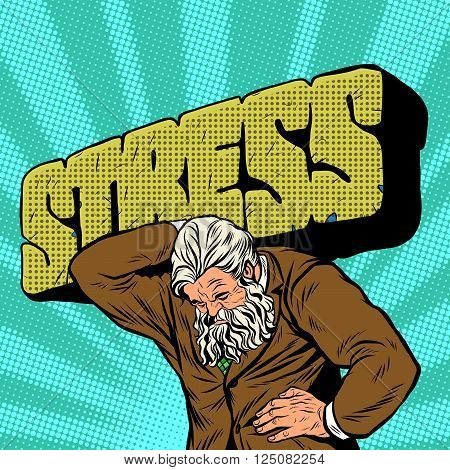 Antique Atlas stress strong man businessman pop art retro style. Greek image in the business. Mighty old man. Boss the head of the company