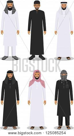Detailed illustration of different standing arab men in the traditional national muslim arabic clothing isolated on white background in flat style.