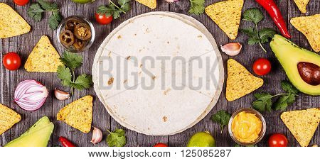 Concept of Mexican food food background top view.
