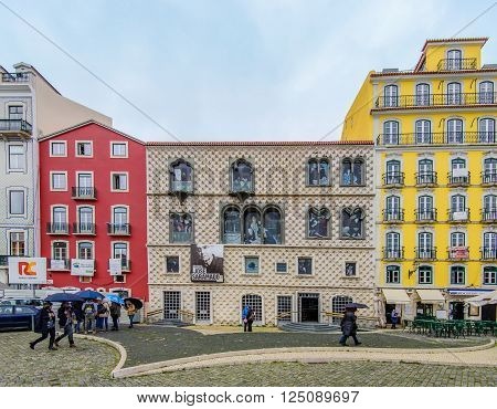 Lisbon, Portugal - January 7: Casa dos Bicos (House of Spikes), where the Jose Saramago Foundation (Literature Nobel Prize) is hosted, Gothic architecture with Manueline windows in January 7, 2016 in Lisbon, Portugal.