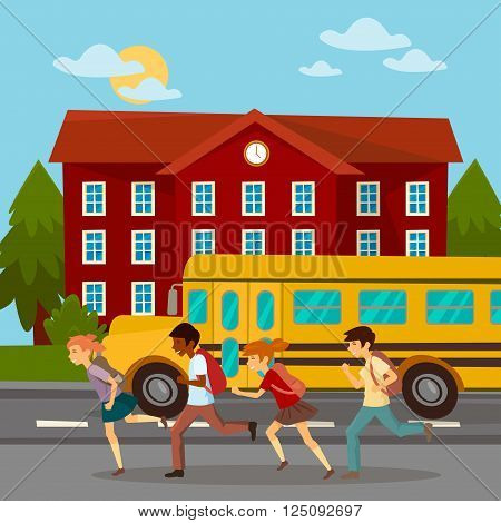 School Building. Scholars Running to School. School Bus. Girl with Backpack. Boy with Backpack. Vector illustration