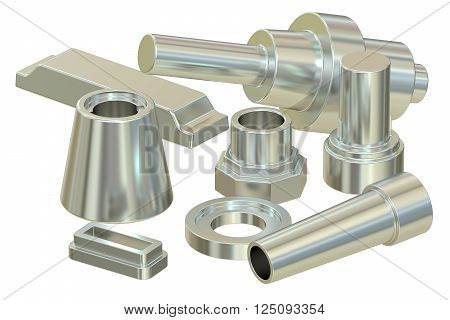 cast or forged steel (aluminum) parts 3D rendering poster