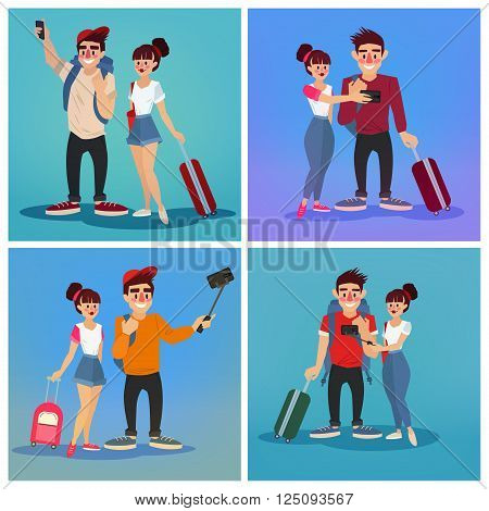 Tourists Making Selfie. Travel Banner. Tourism Industry. Active People. Tourist with Baggage. Happy Couple. Vector illustration