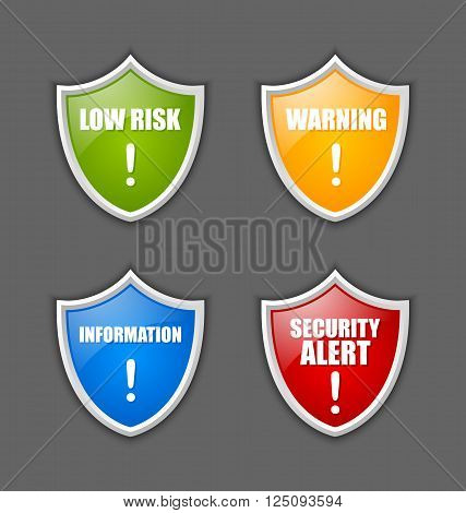 Four colorful glossy shields with notification message on dark grey background