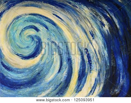 Sea wave image of abstract painting tempera on canvas