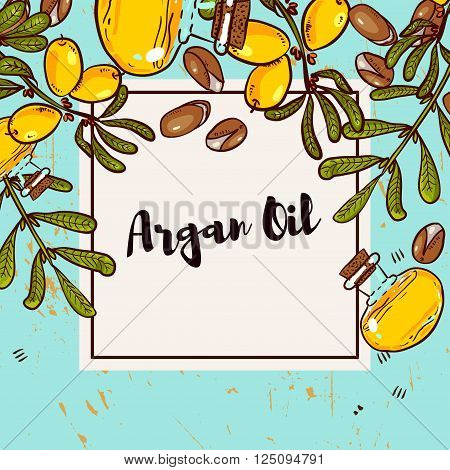 Argan banner in eco-style in natural colors. Argan flyers design layouts. Leaflet for cosmetics medicine ecology bio products.