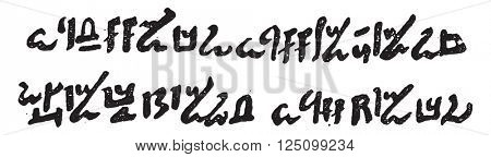 Hieroglyphic writing or writing of priests, vintage engraved illustration. Magasin Pittoresque 1857.