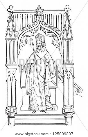 Statue Wulfstan, Bishop of Worcester, led the choir of Ely Cathedral, vintage engraved illustration. Colorful History of England, 1837.