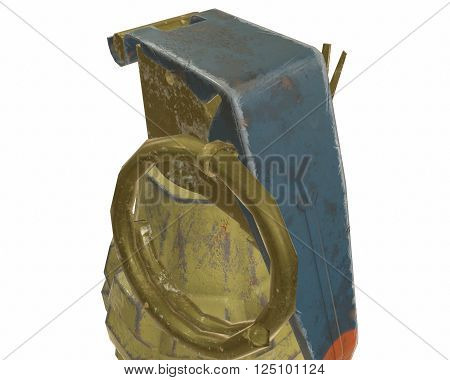 Mk2 grenade 3D illustration on white background isolated