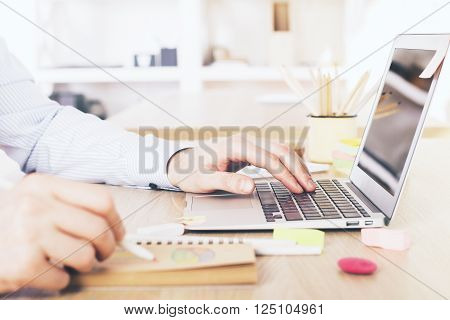 Hand Using Laptop And Drawing