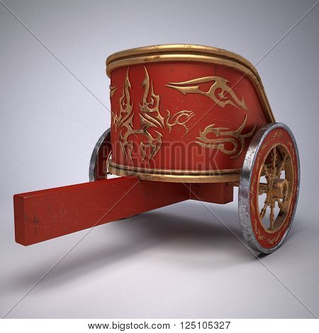 old scratched roman chariot. on gradient white background. metal wheels and gold decoration. 3D illustration