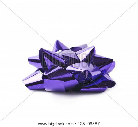 Decorational bow made of glossy violet tape, composition isolated over the white background