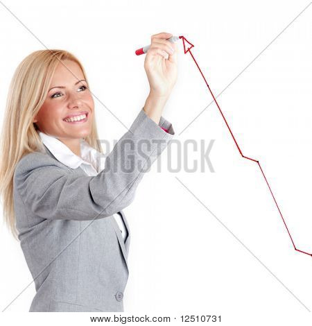 business woman draw arrow