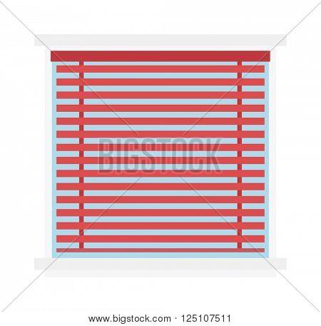 Window jalousie shutter background curtain blinds interior flat vector illustration.