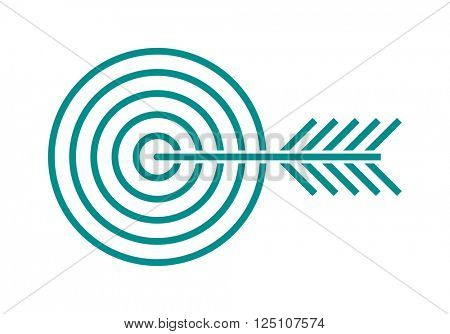 Target icon for business or sport element success aim accuracy center with arrow outline art vector illustration.