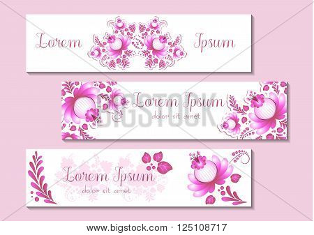 Cute banners in three versions with floral ornament in pink and white colors. Wish labels For Women's Day Mother's Day Bithday Anniversary. Vector illustration