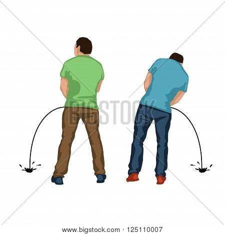illustration of pissing two men standing back on white background