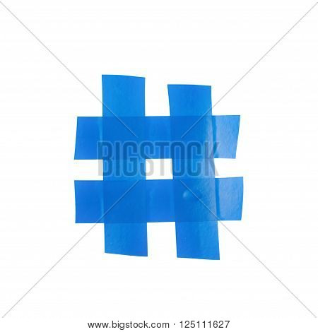 Hashtag number symbol made of insulating tape isolated over the white background