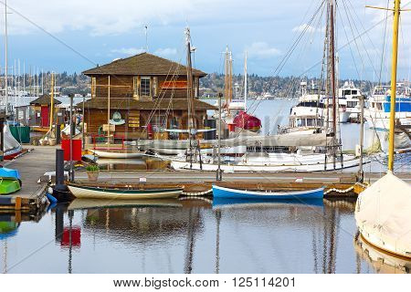 SEATTLE USA - MARCH 22: Center for Wooden Boats on Lake Union on March 22, 2016 in Seattle, WA, USA. The collection of maritime museum started includes more than 100 small sailboats and rowboats.